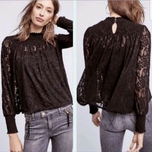 Anthropologie Deletta Amanna Black Lace Top Small